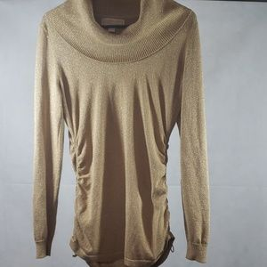 Michael Kors Gold Shimmer Cowl Ribbed Neck Sweater